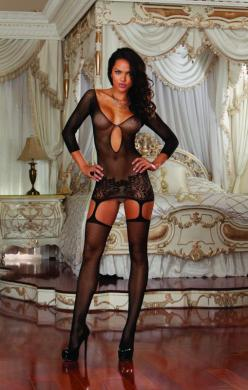 Fishnet Garter Dress W/ Thigh Highs Black Os (4/12)