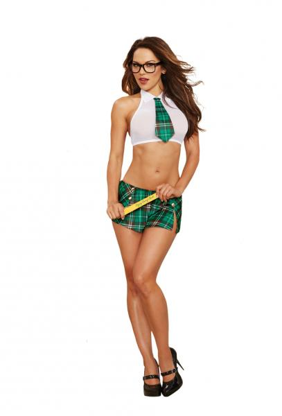Extra Curricular Cutie School Girl Costume White Green O/S
