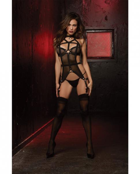 Fetish Bustier & Thong Panty Set Black O/S