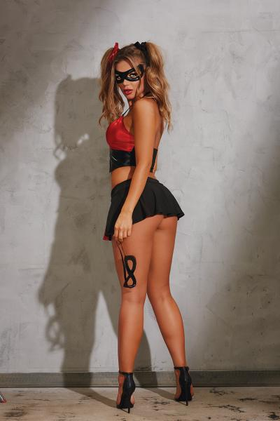 Naughty Harlequin Costume O/S Black Red