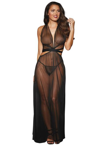 Sheer Mesh Gown Cut Out Side & G String Black O/S