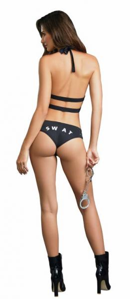 Swat Me Bedroom Costume Vest, Panty & Cuffs Black O/S