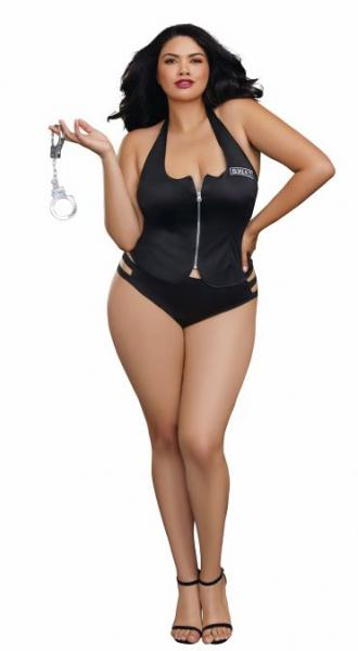 Swat Me Bedroom Costume Vest, Panty & Cuffs Black OQ