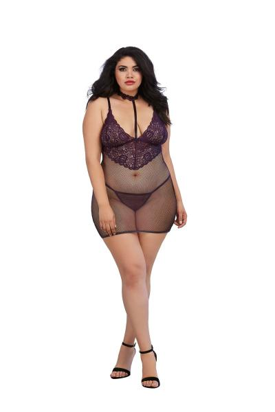 Chemise & G-String Eggplant Purple Queen O/S