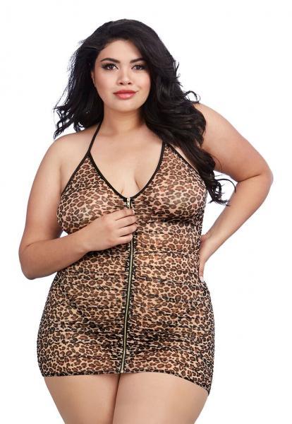 Babydoll & G-String Leopard Print Queen O/S