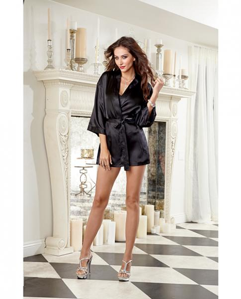 Charmeuse Short Robe, Babydoll & Padded Hanger Medium