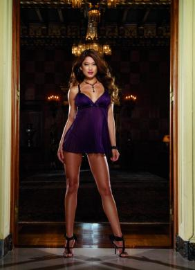 Babydoll and Thong Plum Med Sexy Wear DG6218M