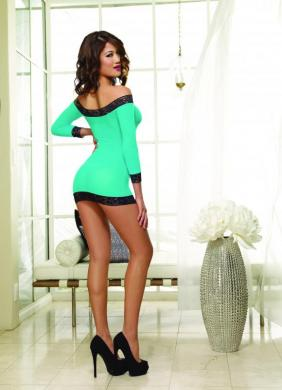Long Sleeved Tunic and Thong Turquoise/Black O/S