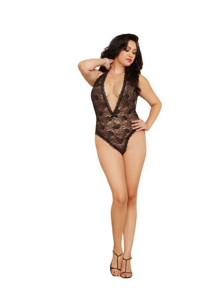 Halter Lace Teddy Plunging Neckline & Heart Cut Out Back Qn