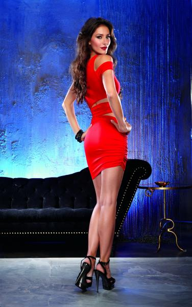 Assymetrical Dress Medium Red