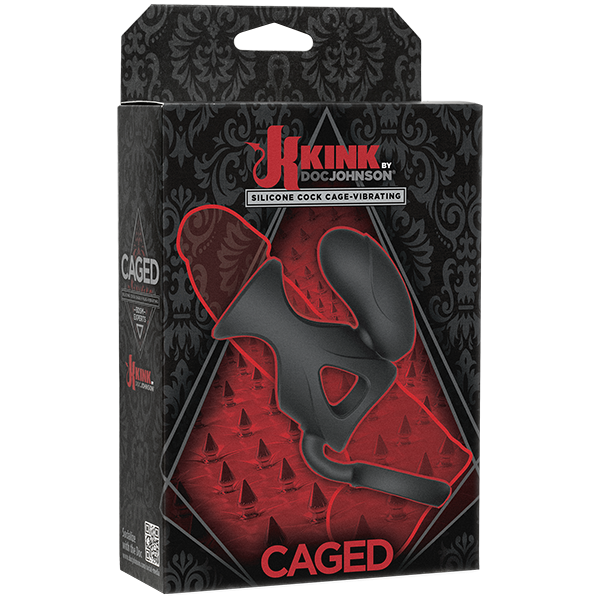 Kink Caged Silicone Cock Cage Vibrating Black