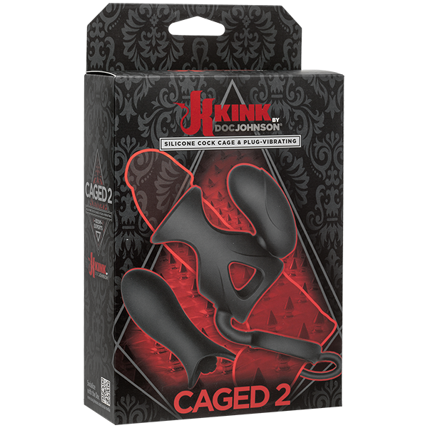 Kink Caged 2 Silicone Cock Cage Vibrating Black