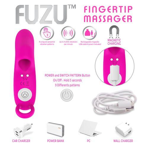 Fuzu Vibrating Rechargeable Fingertip Massager Pink