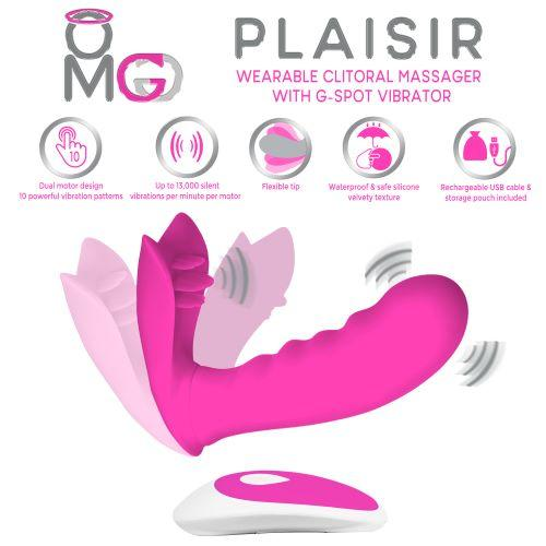 OMG Plaisir Wearable Clitoral Massager, G-Spot Vibrator Pink