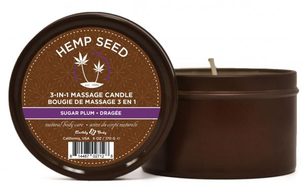 Earthly Body 3 In 1 Massage Candle Sugar Plum 6oz