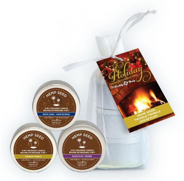Holiday Candle Trio Bag  2oz Each Twinkle, Snow Angel & Sugar Plum