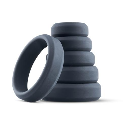 Boners 6 Piece Cock Ring Set Different Sizes Gray
