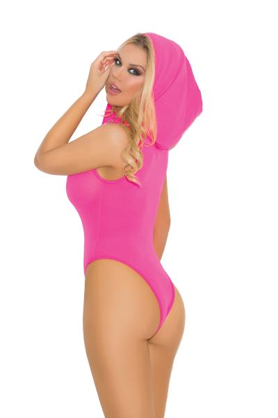 Deep V Hooded Teddy Neon Pink O/S