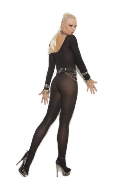 Sheer Long Sleeves Bodystocking Black O/S
