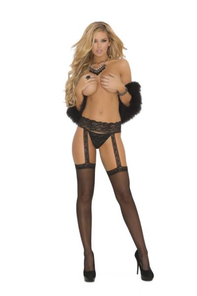 Sheer Garter Belt Hose Black O/S