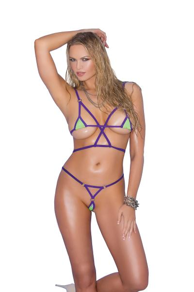 Bikini 2 Piece Swimwear Set Green, Purple O/S