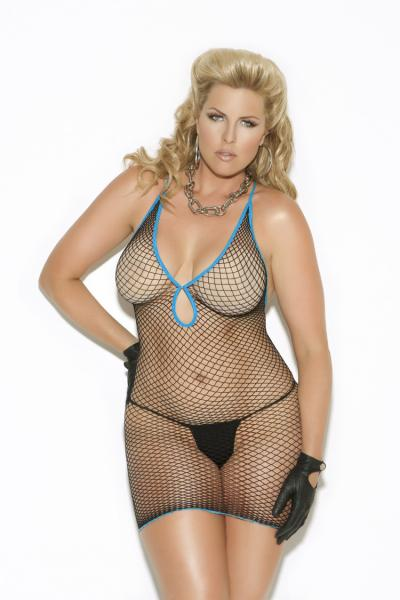 Diamond Net Mini Dress Black Queen