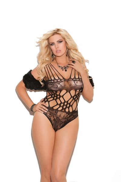 Lace Teddy Cut Out Black Queen