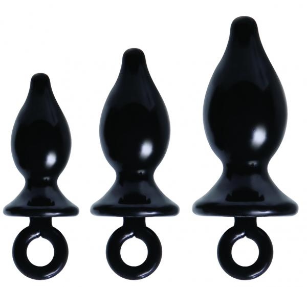 Anal Training Kit 3 Black Butt Plugs