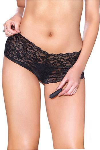 Vibrating Crotchless Panty Black O/S