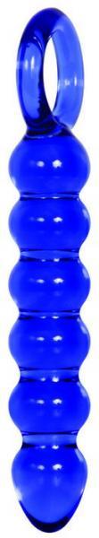Cobalt Glass Dildo Beaded Blue