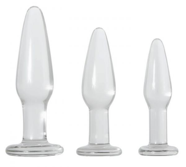 Glass Anal Training Trio 3 Clear Butt Plugs