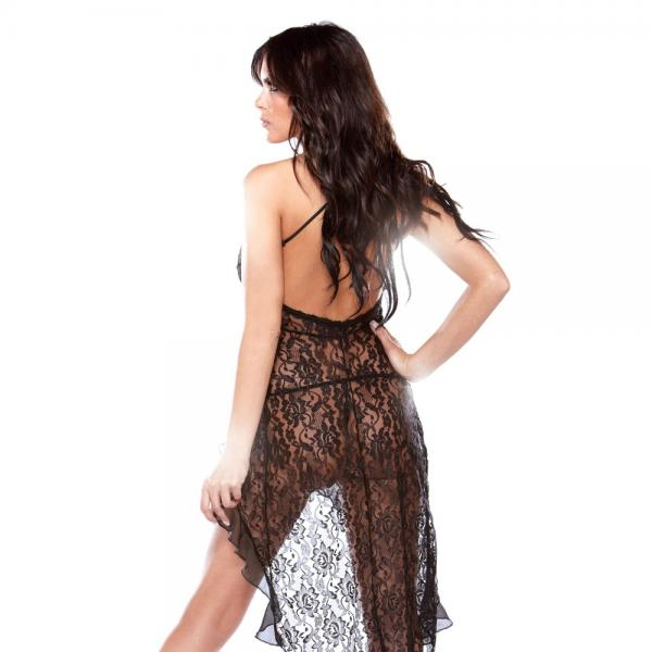 Halter Bias Cut Lace Dress O/s Black
