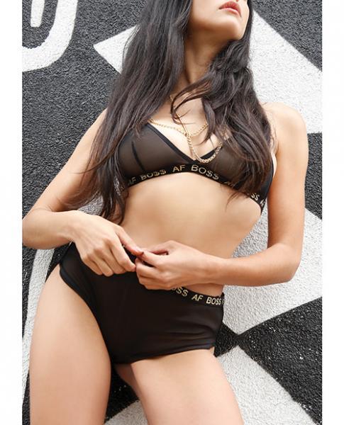 Vibes Boss AF Bralette & Retro Shorts Black L/XL