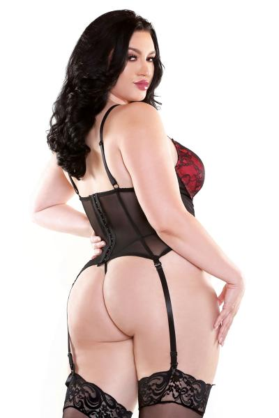 Curve Rosita Bustier & G-String Black Red 1X/2X