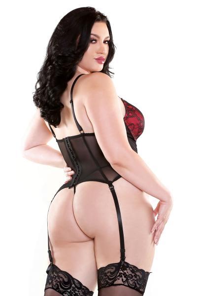 Curve Rosita Bustier & G-String Rose Black 3X/4X