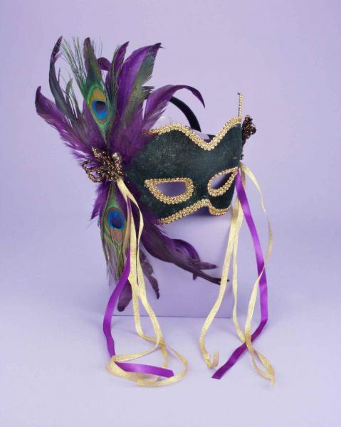 Half Mask Peacock Feather Green O/S