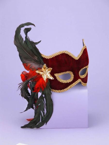 Half Mask Karneval Maroon O/S