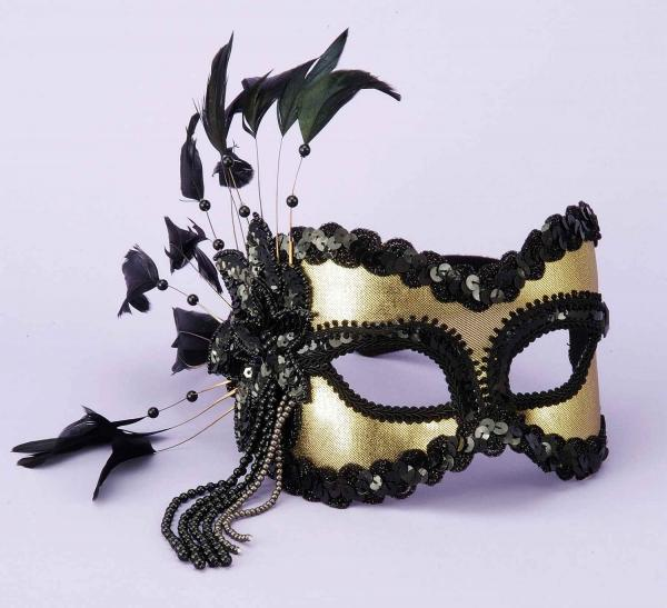 Half Mask Feathers, Beads Black/Gold