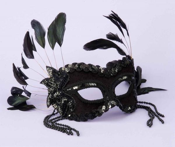 Half Mask Black Beads, Feathers