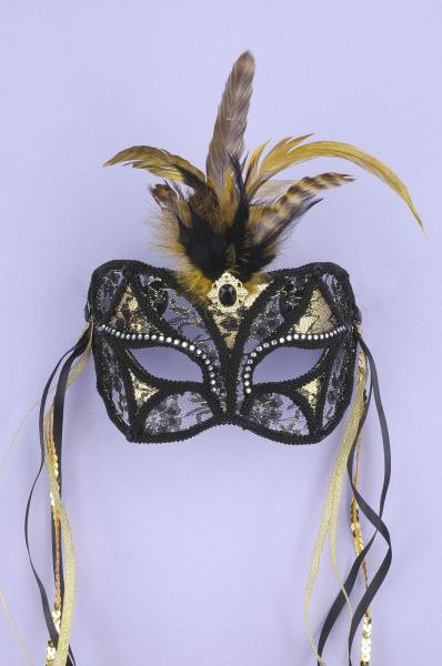 Mask Black Gold Lace O/S