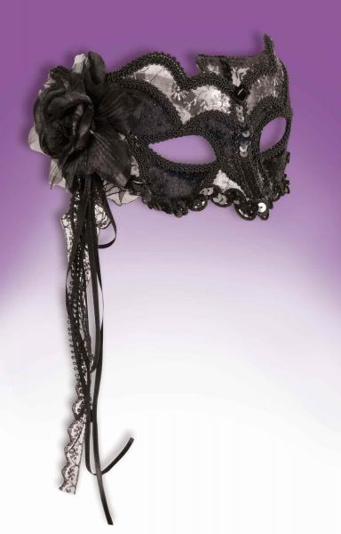 Venetian Mask Black/Silver O/S