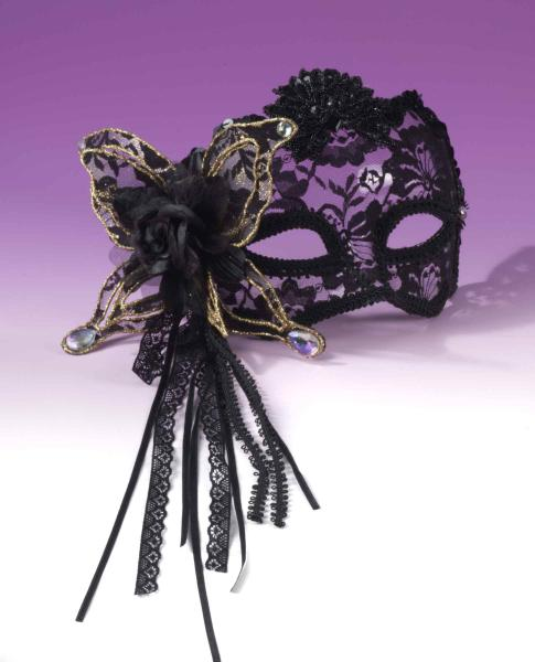 Half Mask Fancy Butterfly, Rose Lace Black