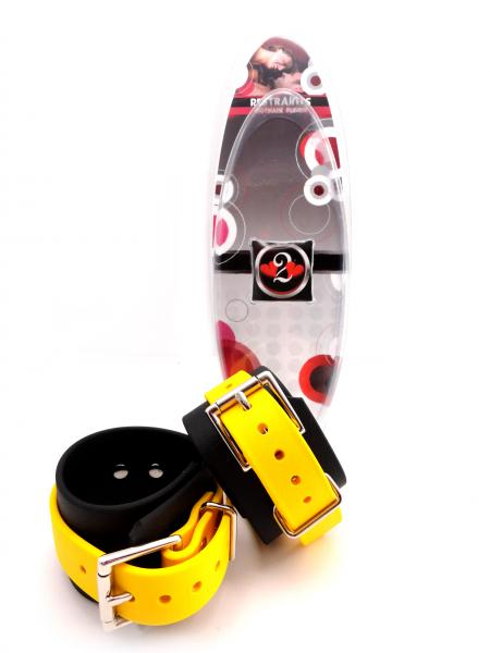 Restraints Ankle Biothane Black & Yellow