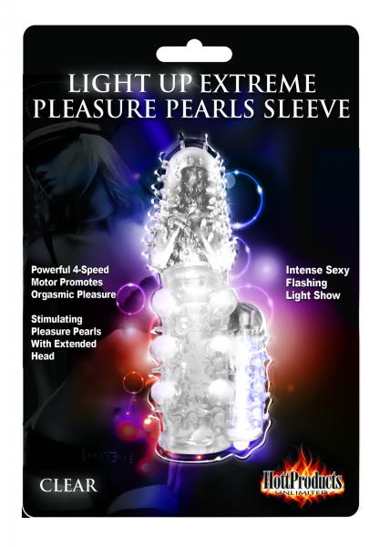 Light Up Extreme Vibrating Pleasure Pearls Sleeve Clear