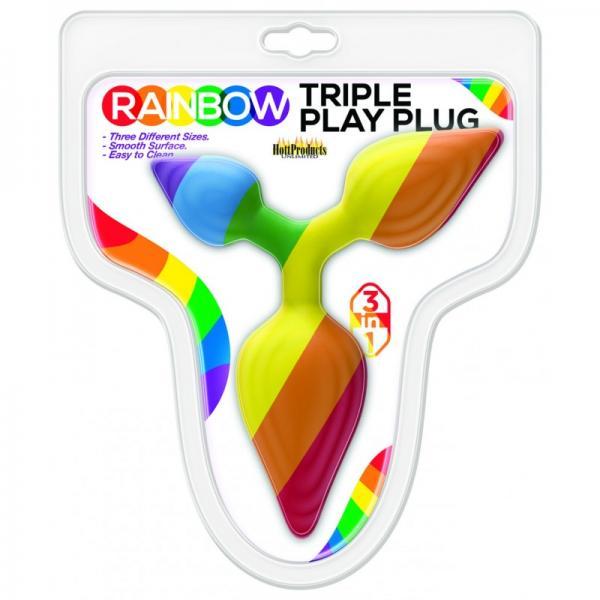Rainbow Triple Play Butt Plug