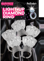 Bachelorette Party Light Up Diamond Ring 5 Pack
