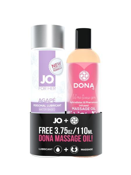 Jo Agape Original Lubricant 4oz + Free Dona Flirty Massage Oil 3.75oz