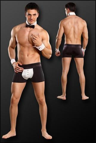 Male Power Butt-ler Costume S/M Black
