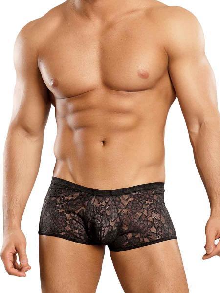 Male Power Mini Shorts Stretch Lace Black Large