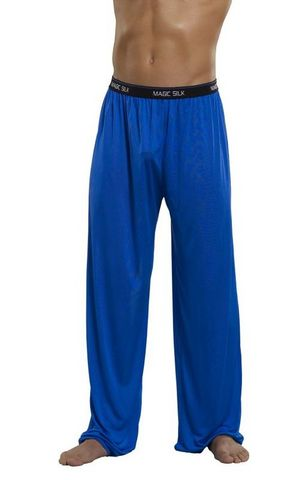 Pants Knit Silk Cobalt Large